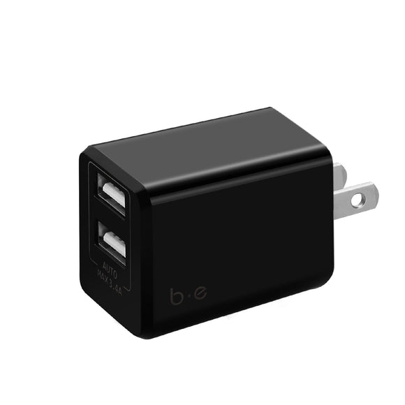 Blu Element - Wall Charger Dual USB 3.4A No Cable Black