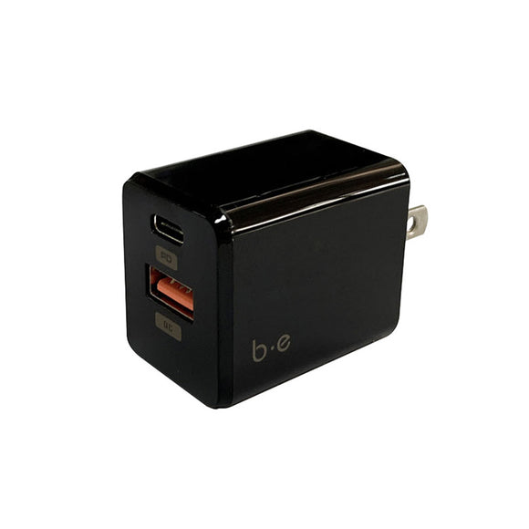 Blu Element - Wall Charger Dual Port USB-C 18W Power Delivery and USB-A QC 3.0 Black