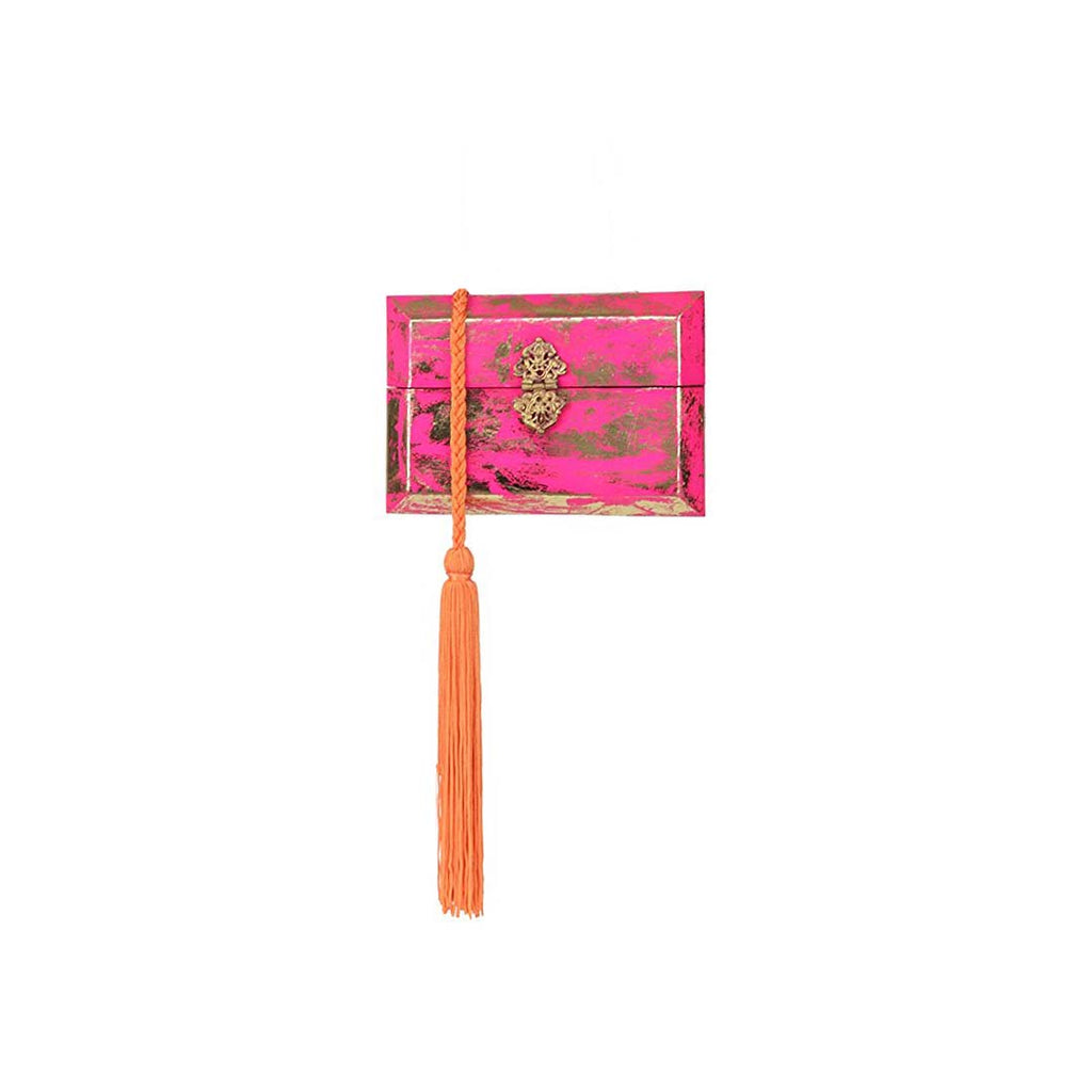 Pink & Gold Foil Structured Box Clutch Bag