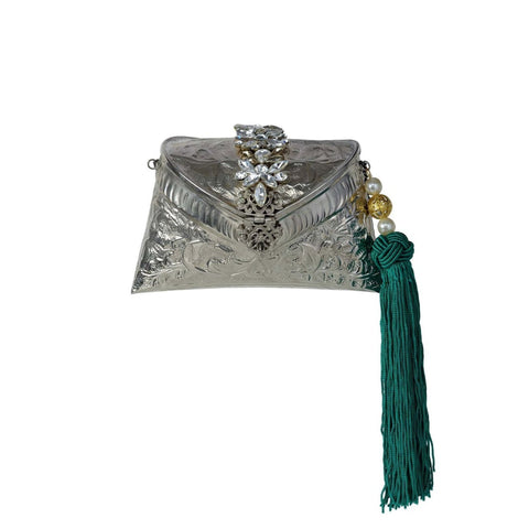 Silver Clutch Bag with Tassel