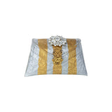 Golden & Silver Striped Foil Clutch Bag - Limited Edition