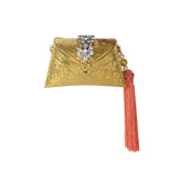 Golden Clutch Bag with Tassel