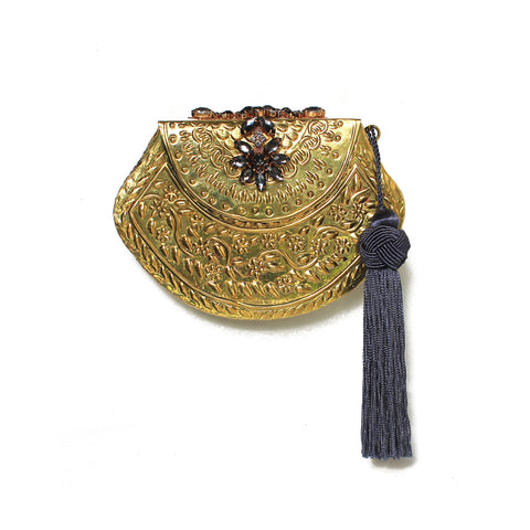 SOLD OUT - Golden Embellished Purse with Tassel