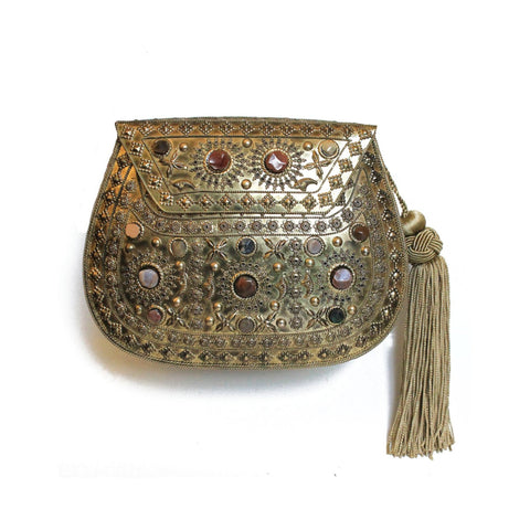 Golden Embellished Purse with Tassel