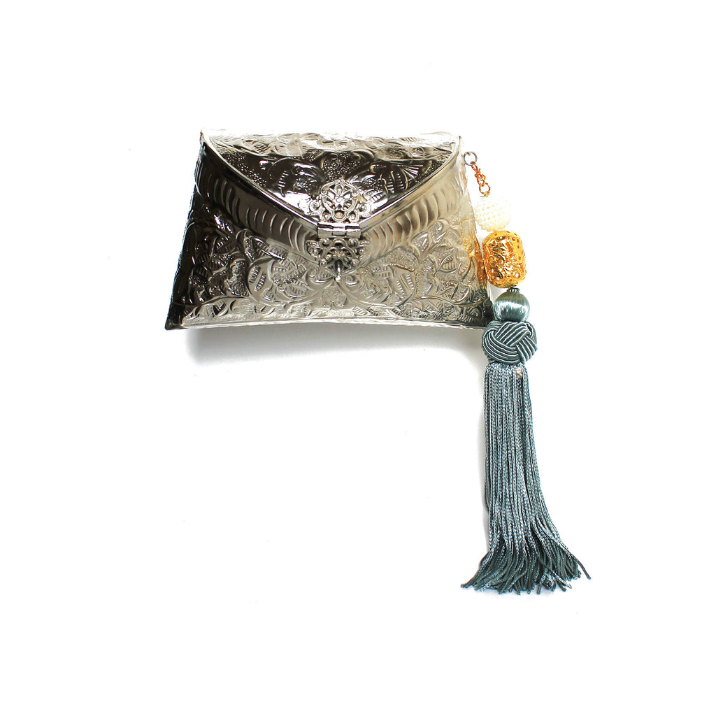 SOLD OUT - Silver Bag with Tassel