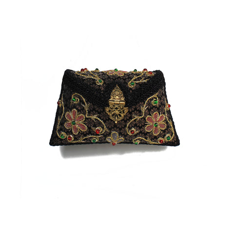 SOLD OUT - Embroidered Black Clutch
