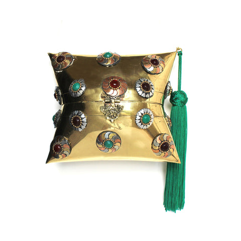 Golden Box Bag with Tassel