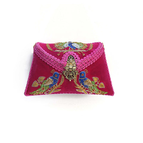 SOLD OUT - Embroidered Magenta Clutch