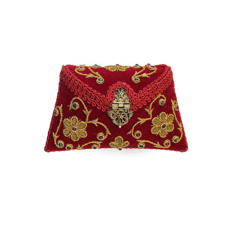 Embroidered Deep Red Clutch