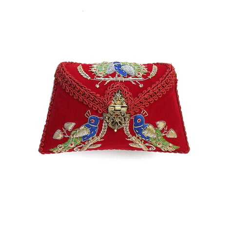 SOLD OUT - Embroidered Red Clutch