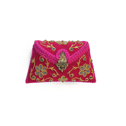 SOLD OUT - Embroidered Pink Clutch