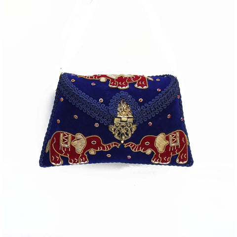 Embroidered Navy Clutch