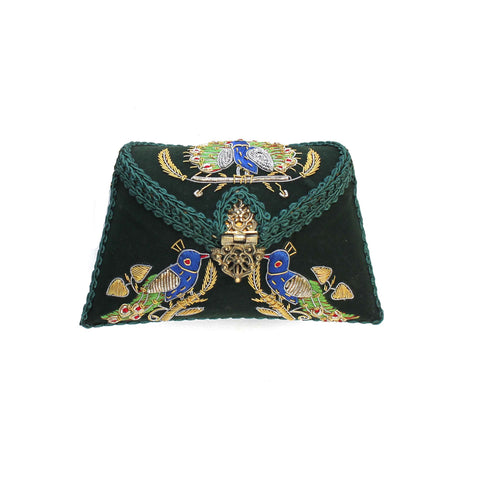 Embroidered Green Clutch