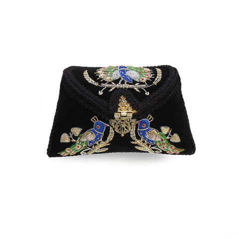 Embroidered Black Clutch