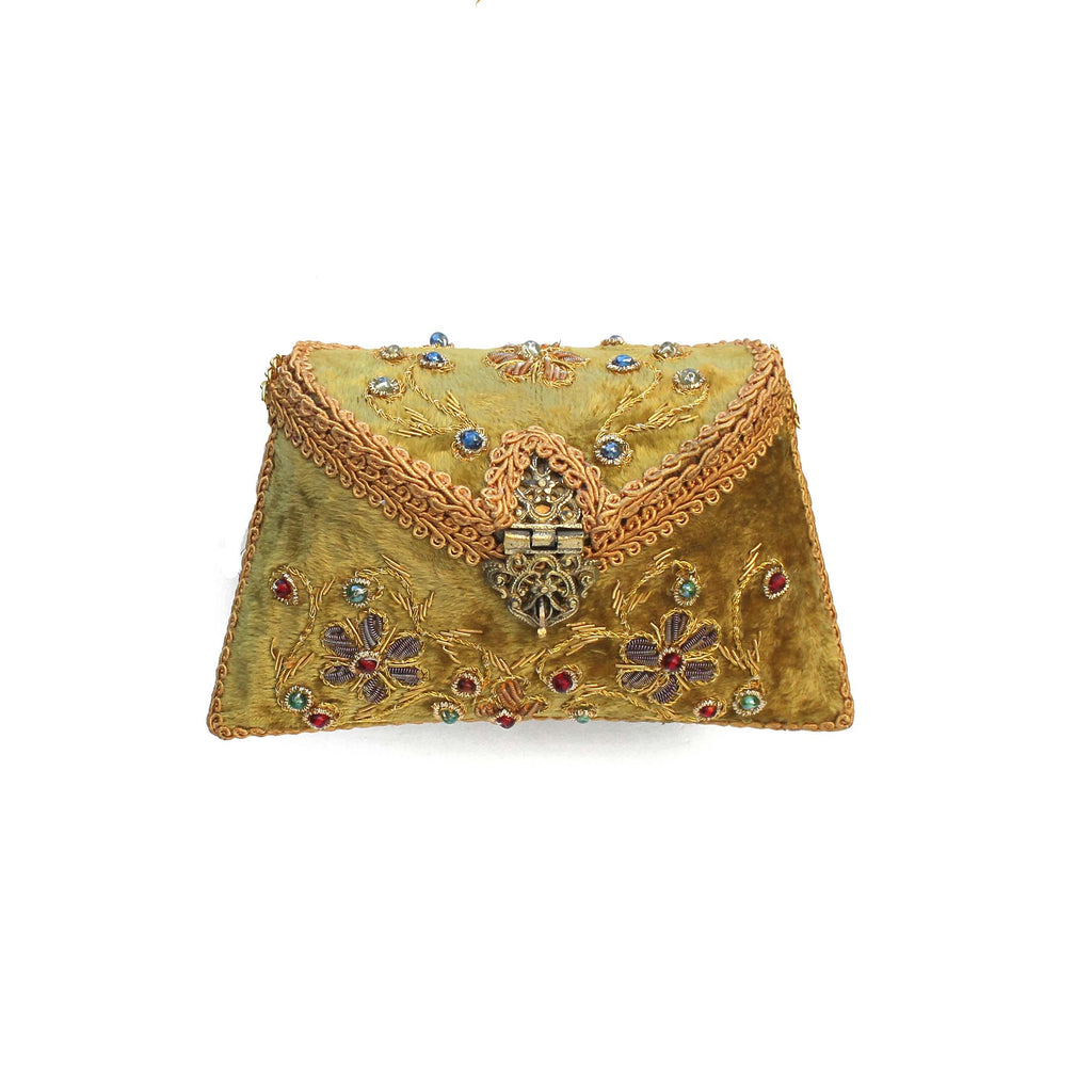 Embroidered Dull Olive Clutch