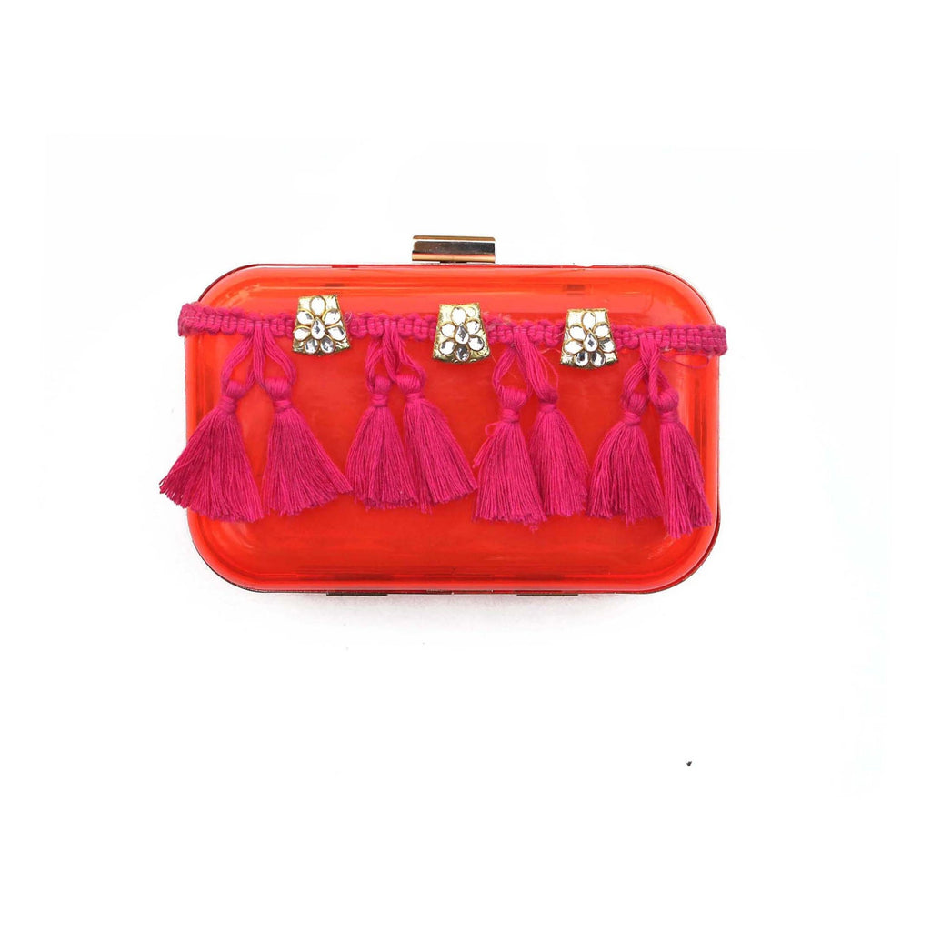 Pink Box Clutch Tassel Embellished Bag