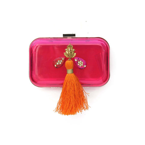 Pink Box Clutch Tassel Bag