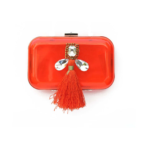 Orange Box Clutch Tassel Bag