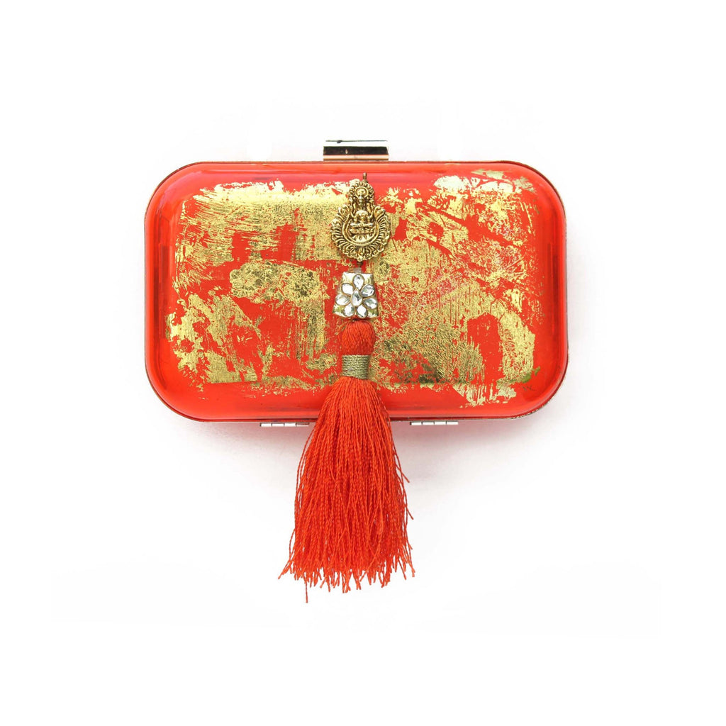 SOLD OUT - Orange Gold Foiled Box Clutch Tassel Bag
