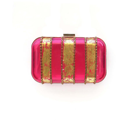 SOLD OUT - Pink Gold Foil Stripes Box Clutch Bag