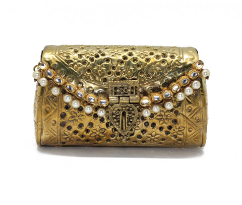 Antique Golden Cutwork Embellished Purse
