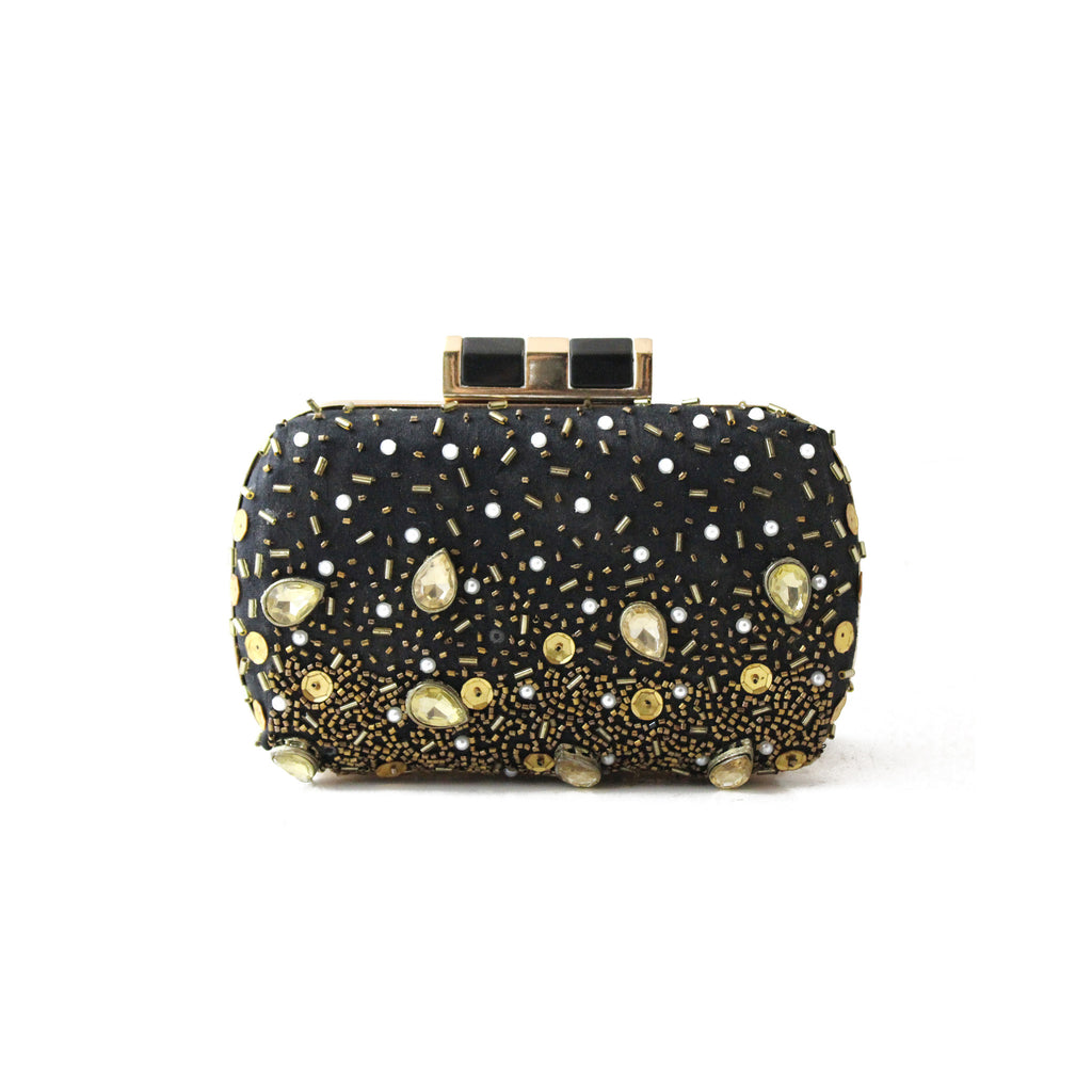 Embellished Black Clutch