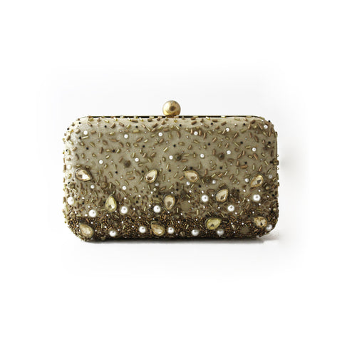 Embellished Beige Clutch