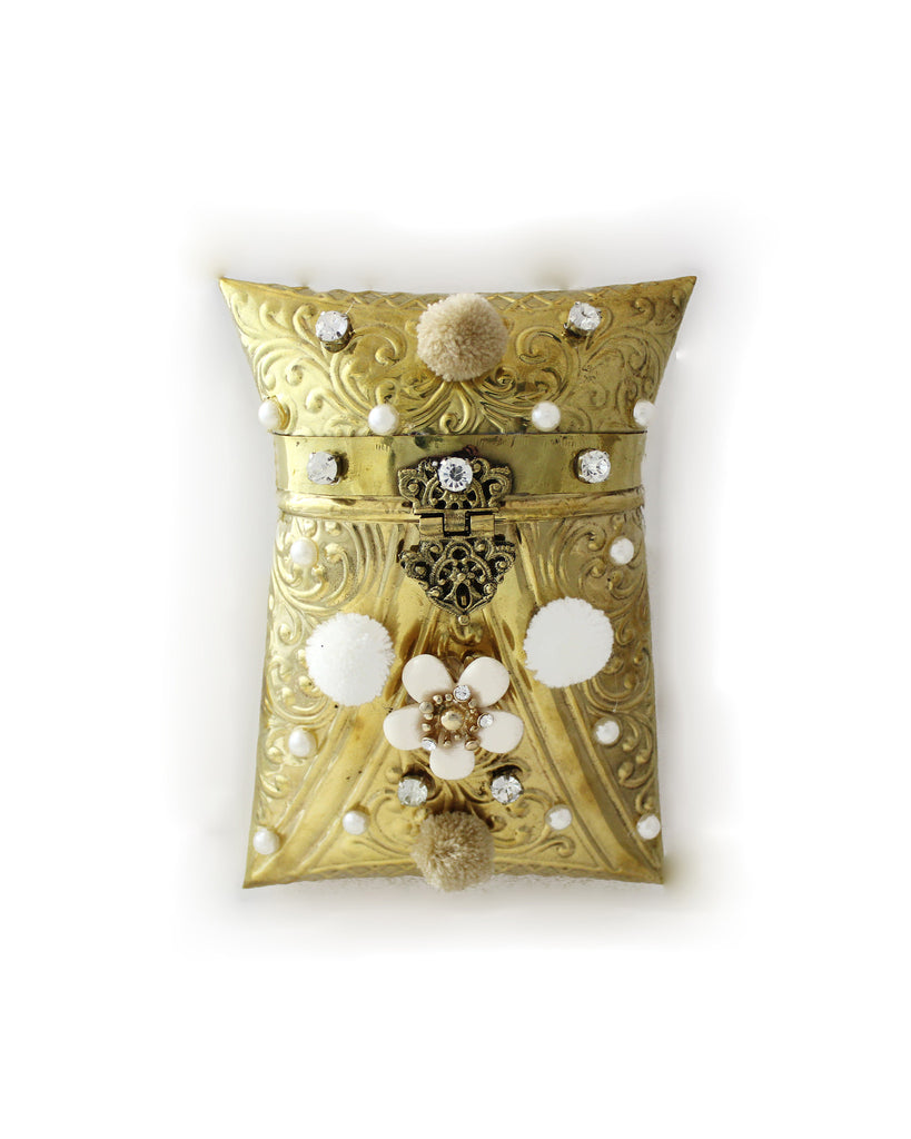 Golden Enveloped Embellished Purse