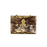 Maroon & Gold Foil Structured Box Clutch Bag
