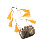 Silver Clutch Bag with Tassel Crossbody Chain