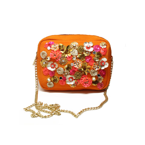 Orange Embellished Crossbody