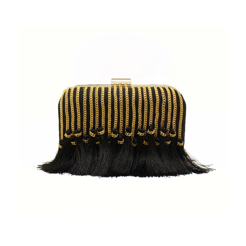 Tassel Embellished Black Clutch