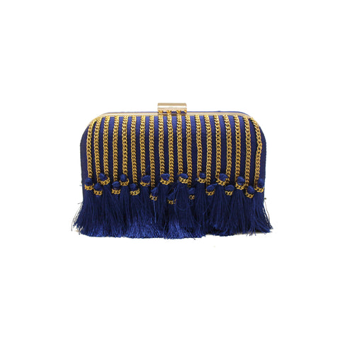 Tassel Embellished Blue Clutch
