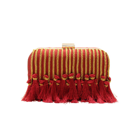 Tassel Embellished Red Clutch