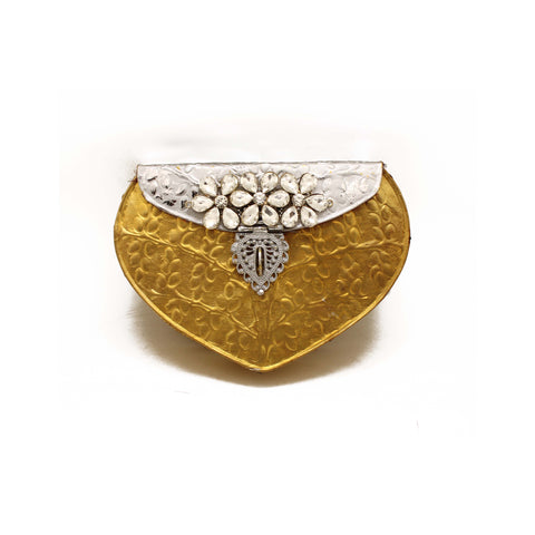 Golden & Silver Foiled Embellished Clutch Bag - Limited Edition