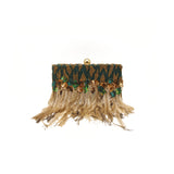 Embellished Green Feather Clutch