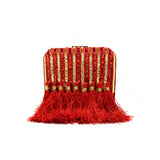 Sequin & Tassel Embroidered Red Clutch