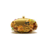 Gardenia Embellished Golden Clutch
