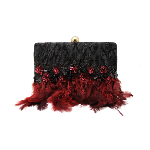 Embellished Black Feather Clutch
