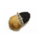 Embellished Black & Beige Fringe Clutch