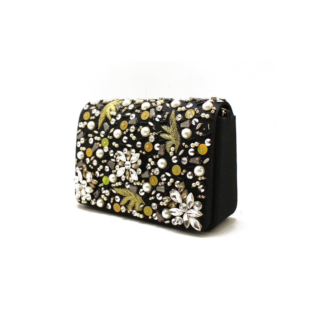 Embellished Black Evening Bag