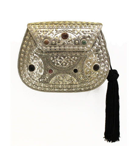 Silver Embellished Purse with Tassel