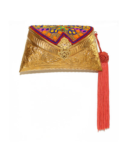 Beaded Golden Bag with Tassel