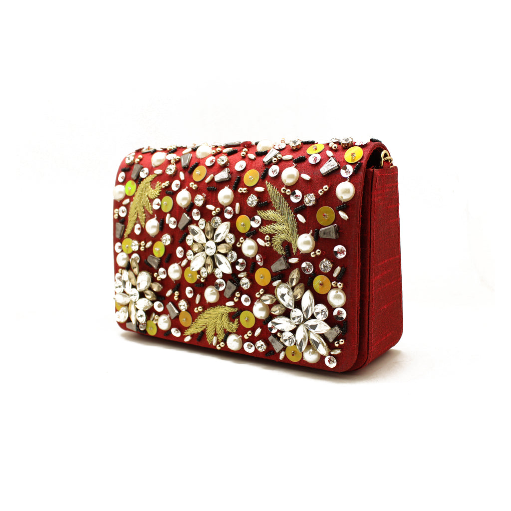 Embellished Dark Red Evening Bag