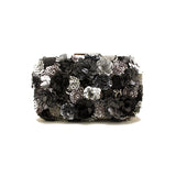 Gardenia Embellished Black Clutch