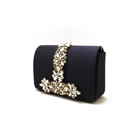 Embellished Midnight Blue Evening Bag