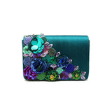 Gardenia Embellished Green Evening Bag