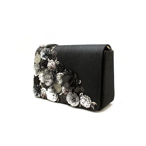 Gardenia Embellished Black Evening Bag