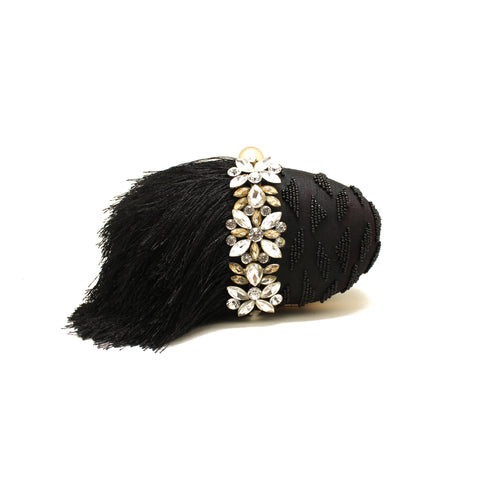 Embellished Black Fringe Clutch