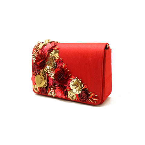 Gardenia Embellished Red Evening Bag